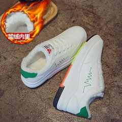 White shoes fall 2017 new all-match Korean tide fall thick soled shoes with white shoes female student Fleece Winter Thirty-eight Green (cashmere)