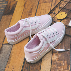 Autumn and winter ins canvas shoes female super fire all-match chic Korean ulzzang Harajuku students shoes white shoes Thirty-eight Pink