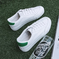 2017 new autumn and winter based all-match white shoe leather female Korean students white shoes chic shoes canvas shoes Thirty-eight White and green
