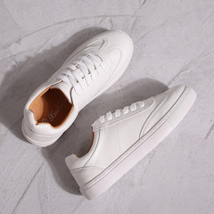 White shoes thick Qiu 2017 new Korean all-match of leather shoes size shoes. Thirty-eight White flat bottom