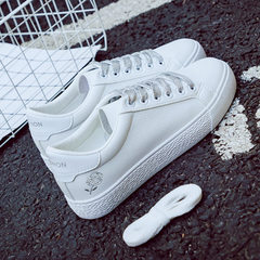 Han Faner chic white shoes shoes all-match flat shoes 2017 autumn winter new canvas shoes, white shoes. Thirty-eight silver