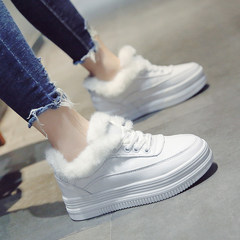 Muffin thick bottom white shoe female Korean new lace shoes all-match 2017 autumn student flat shoes Thirty-eight White (cotton)