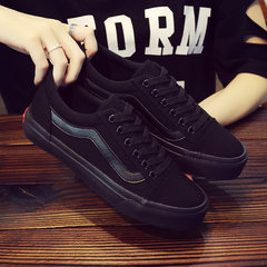 The fall of 2017 new ins canvas shoes female super Fire Pro Korean all-match flat ulzzang leisure shoes Thirty-eight All black