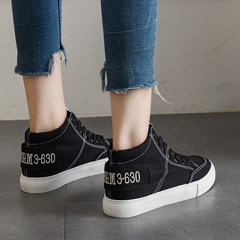 2017 autumn and winter high canvas shoes to help female ins ulzzang chic all-match fire shoes. Thirty-eight black