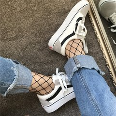 Ins canvas shoes female super fire street beat Hong Kong black shoes Korean students wind ulzzang Harajuku shoes tide 41 men's (Standard Code) White and black