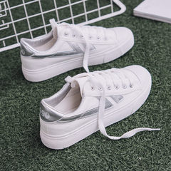 Street canvas shoes female summer 2017 new white shoe shoes casual shoes all-match Hong Kong wind cloth shoes. Thirty-eight silver