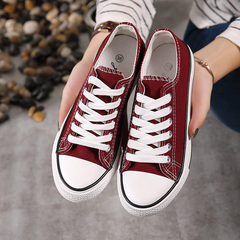 Canvas shoes female 2017 new students all-match autumn shoes ulzzang leisure Street white shoes Harajuku 43 (male) Low alcohol red wine