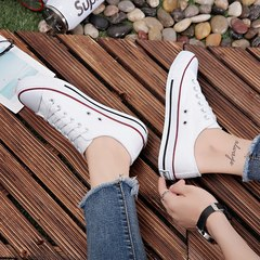 Ins canvas shoes Korean female students fall 2017 new all-match chic white shoes Harajuku wind ulzzang 35 (female) Classic paragraph - white red