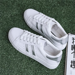 Based all-match autumn white shoe shoes Korean 2017 new canvas shoes white shoes sports shoes in students Thirty-eight silver