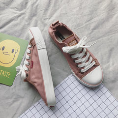 In the autumn of 2017 New Street ins canvas shoes female student summer all-match Harajuku ulzzang white cloth shoes. Forty Pink