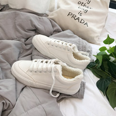 Autumn white shoes shoes ulzzang shoes Korean students in Hong Kong wind street shoes all-match ins canvas shoes Thirty-eight White Velvet