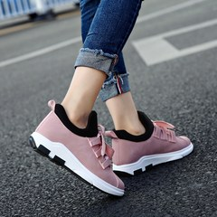 With cashmere sport shoes, winter snow boots shoes 2017 new short barrel two Korean students all-match winter shoes shoes Thirty-eight Pink [not velvet, slightly smaller]