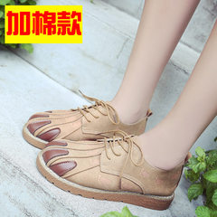 The wind in autumn 2017 new students Harajuku Korean sports shoes all-match ulzzang British Soft sister small leather shoes Thirty-eight Light Khaki