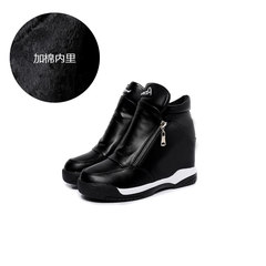 2017 in autumn and winter, the new style increases the slope of documentary shoes, women's thick bottom leisure sports shoes, side zipper high black short boots Thirty-eight Black cotton