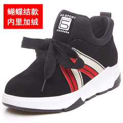 2017 new BF sports shoes shoes autumn Korean female students all-match platform shoes leisure shoes female tide Thirty-eight Black velvet (bow tie lace)