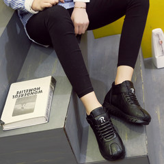A Korean winter high shoes and sports leisure female all-match cashmere Velcro shoes female students warm boots Thirty-eight Black shoes