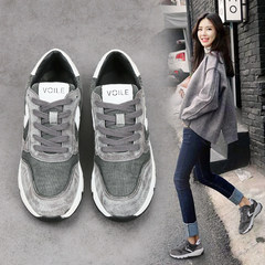 Harajuku sport shoes, running shoes autumn 2017 new students. All-match thick leisure plus cashmere women shoes in winter Thirty-eight Black Cashmere