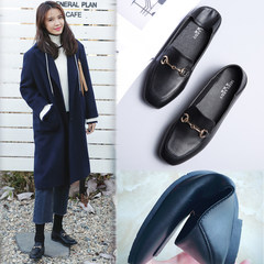 2017 new female flat loafer female British style horsebit shoes with cashmere lazy shoes shoes shoes Thirty-eight Black (with NAP)