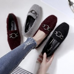Maomao shoes autumn winter 2017 new Korean all-match tidal flat shoes size Doug shoes and cotton shoes scoop Thirty-eight Grey [short plush money]