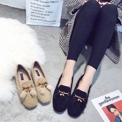 The autumn winter 2017 new female Maomao shoes shoes. All-match scoop a pedal shoes flat shoes Doug Harajuku Thirty-eight black
