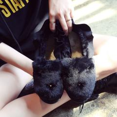 Korean female Maomao shoes shoes with velvet warm lazy thick rabbit peas in autumn and winter a frosted shoes shoes Thirty-eight Fluorescent black