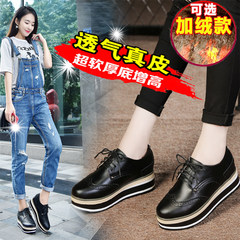 Autumn and winter Bullock shoes platform shoes Korean increased plus velvet leather casual British flat shoes Thirty-eight 1177 no increase in cashmere