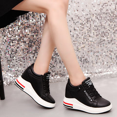 White shoe 2017 female new autumn increase in women 8cm all-match side zipper shoes soled sports shoes Thirty-eight black