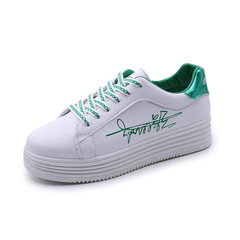 Autumn and winter cotton shoes and new shoes with white all-match thick soled sneakers Korean student shoes shoes Thirty-eight 8181 green