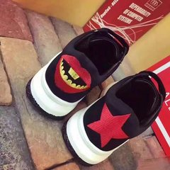 Korean female sports shoes fall 2017 new thick bottom female muffin bottom increased travel shoes casual shoes Harajuku Forty Black + Red