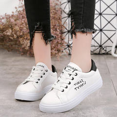 In the autumn of 2017 new all-match embroidery white shoes casual shoes breathable shoes leather soled Korean student shoes Thirty-eight Black thin money