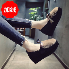Shoes 2017 autumn winter shoes new all-match Korean flat bow shoes soled platform Maomao shoes Thirty-eight Khaki (plus velvet)