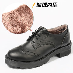 British style shoes retro thick soled shoes and muffin Bullock style black shoes with velvet lace school Thirty-eight Black velvet