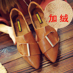Pointed shoes Korean all-match 2017 new shallow mouth leisure fashion shoes shoes shoes autumn autumn Thirty-eight Camel.