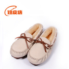 Doug winter wool shoes plus cotton shoes and leather flat loafer warm pregnant mother shoes shoes Society Thirty-six Sand color plus cashmere