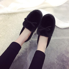 The new winter cotton slippers with thick soled shoes female cashmere thermal confinement shoes snow shoes shoes Plush student shoes Thirty-eight black