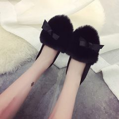 Autumn and winter shoes shoes shoes slip Doug Korean women shoes Maomao shoes Bow Shoes students Thirty-eight black