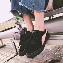 Autumn and winter shoes 2017 new Korean all-match flat shoes Doug shoes shoes leisure shoes in the Lok Fu Thirty-eight black