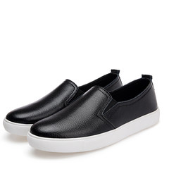 Every day special flat bottom women's shoes, leather thick bottom student shoes, anti slip pregnant women leisure work, pedal tic yue fu shoes Thirty-eight black
