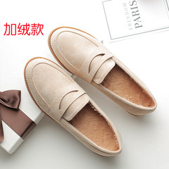2017 autumn new style British Wind flat with flat bottom peas shoe, female foot pedal happy shoes, four seasons shoes, single shoes, women's shoes Thirty-eight Apricot (with velvet)