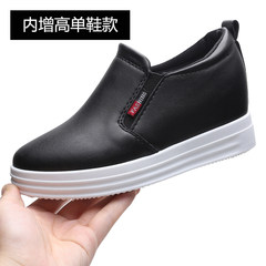 2017, autumn and winter thick base high heel leisure lazy shoes, single shoe slope with white shoes, le fu shoes 6cm increase women's shoes Thirty-eight black
