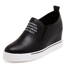 The increase in autumn and winter of 2017 new leather shoes all-match Korean shoes with thick soles of shoes femalemusicians Po Fu leisure Thirty-eight Black letters