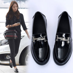 The Korean version of 2017 new spring all-match lady with British style loafer shoes fashion shoes female students Thirty-eight A3 black, metal strip