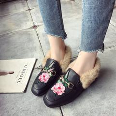 Square bird embroidery slip-on in autumn and winter shoes with low female Plush pedal shoes shoes loafer Thirty-eight Black Rose