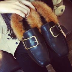 European winter Maomao shoes plus velvet shoes shoes casual shoes a lazy student rabbit Doudou square ladies shoes Thirty-eight Black [C206]