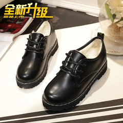 Autumn and winter all-match Harajuku singles shoes lace up shoes with thick soles in the small leather shoes casual shoes and cashmere students Thirty-eight black
