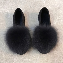 Europe in the autumn of 2017 new Korean female winter shoes Maomao shoes shoes flat shoes shoes shoes scoop beans Thirty-eight black