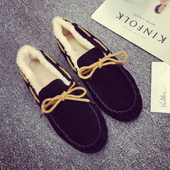 Doug shoes with cashmere in autumn and winter the new Korean flat pedal loafer shoes shoes scoop female slip shoes Thirty-nine black