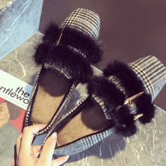 Square loafer female buckle shoes slippers plush flat shoes with flat hair pad and cashmere Plaid tide Thirty-eight black
