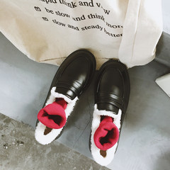 Ulzzang, British Wind shoes all-match winter students shoes pedal loafer Doug shoes Thirty-eight Black (warm cotton)