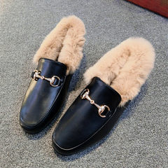 The new station square Le Fu rabbit hair leather buckle shoes and cotton shoes shoes scoop lazy flat shoes Thirty-eight Black black